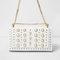 River Island White Pearl And Stud Underarm Chain Bag