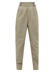 Isabel Marant Yerris High Rise Cotton Poplin Trousers Khaki