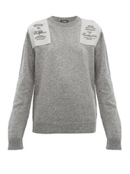 Raf Simons Embroidered Shoulder Patch Wool Sweater Grey
