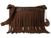 American West Sun Valley Fringe Crossbody Wallet Chocolate Embossed Chocolate Cross Body Handbags Brown