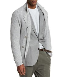 Brunello Cucinelli Double Breasted Shaker Knit Cardigan Light Gray