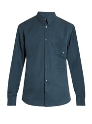 Christophe Lemaire Button Cuff Silk Twill Shirt Blue