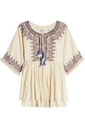 Velvet Embroidered Cotton Tunic Top