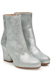 Maison Martin Margiela Metallic Leather Ankle Boots Silver