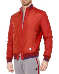 Stefano Ricci Croc Embossed Bomber Jacket Red Men's