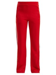 Moncler Side Stripe Wide Leg Jersey Track Pants Red