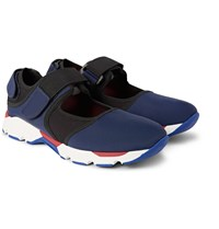 Marni Cutout Mesh Trimmed Neoprene Sneakers Navy