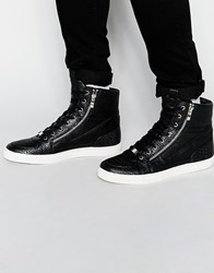 Asos Hi Top Trainers In Black With Snakeskin Effect And Zips