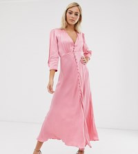Ghost Exclusive Maddison Button Front Satin Midi Dress Pink