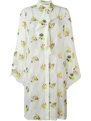 Marco De Vincenzo Floral Print Shirt Dress Green