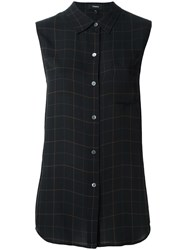 Theory Checked Sleeveless Shirt Blue