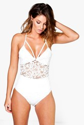 Boohoo Lace Strappy Bodysuit Ivory