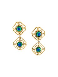 Chanel Vintage Iridescent Dangling Clip On Earrings Blue