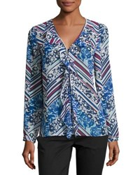 Laundry By Shelli Segal Picot Edge Ruffle Front Blouse Blue Pattern