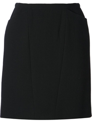Chanel Vintage Short Flannel Skirt Black