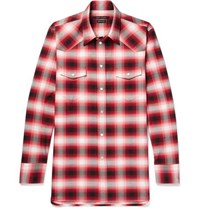 Marc Jacobs Dusty Slim Fit Checked Cotton Shirt Red