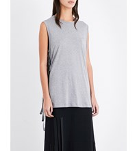 Helmut Lang Side Tie Cotton And Cashmere Blend Top Fog Melange