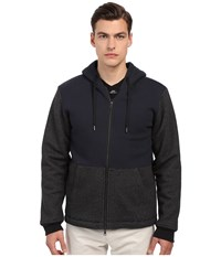 Vince Sherpa Lined Zip Hoodie Coastal Heather Black Men's Sweatshirt Olive