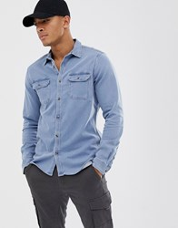 Voi Jeans Jersey Denim Shirt Blue