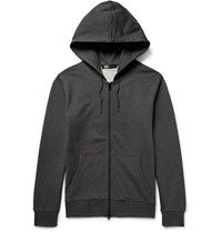 Y 3 Printed Loopback Cotton Jersey Zip Up Hoodie Charcoal