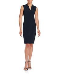 T Tahari Tonya Pleated Sheath Dress Navy