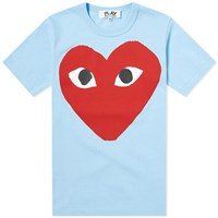 Comme Des Garcons Play 'S Red Heart Logo Tee Blue