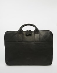 Lyle And Scott Leather Document Bag Black