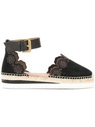 See By Chloe Scalloped Espadrille Pumps Black