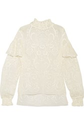 Magda Butrym Vichy Ruffled Embroidered Silk Voile Turtleneck Top Cream