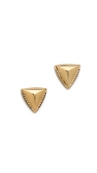 House Of Harlow 1960 Engraved Faceted Pyramid Stud Earrings Gold