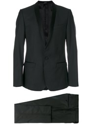 Dolce And Gabbana Two Piece Dinner Suit Silk Polyester Viscose Virgin Wool Black