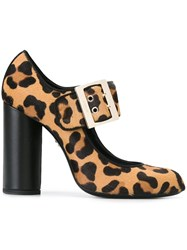 Lanvin Mary Jane Buckle Pumps Brown