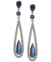 Carolee Earrings Silver Tone Blue Glass Bead Linear Drop Earrings