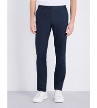 Corneliani Tailored Fit Straight Stretch Cotton Trousers Navy