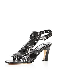 Brian Atwood Luisa Leather Grommet High Heel Sandals Black