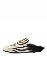 Gucci Princetown Zebra Inlay Fur Lined Mule Black White Blk Wht