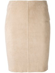 Jitrois Fitted Skirt Women Cotton Lamb Skin Spandex Elastane 36 Nude Neutrals
