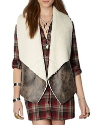 Bb Dakota Sherpa Lined Faux Leather Vest Dark Taupe