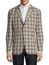 Hickey Freeman Button Front Linen Jacket Brown
