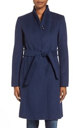 Women's Ellen Tracy Belted Wool Blend Stand Collar Coat
