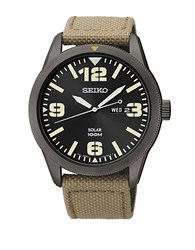 Seiko Mens Black Stainless Steel Watch With Beige Nylon Strap Tan