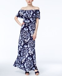 Inc International Concepts Petite Off The Shoulder Printed Maxi Dress Only At Macy's Harmonic Crest
