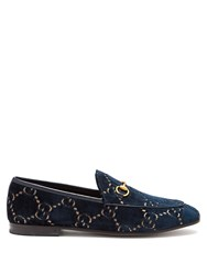 Gucci Jordan Gg Velvet Loafers Blue
