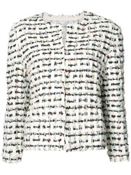 Oscar De La Renta Tweed Technique Jacket Women Silk Goat Fur Nylon S White