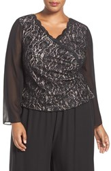 Alex Evenings Plus Size Women's Chiffon Sleeve Sequin Lace Blouse