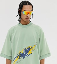 Noak Oversized T Shirt With Embroidered Art Print Green