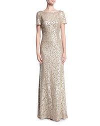 La Femme Boat Neck Short Sleeve Lace Embroidered Evening Gown Light Gold