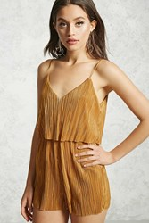 Forever 21 Metallic Flounce Layered Romper Gold