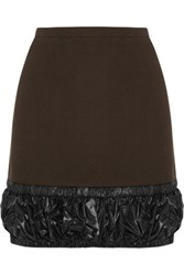 Christopher Kane Shell Trimmed Wool Crepe Mini Skirt Dark Brown