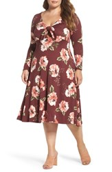 Soprano Plus Size Women's Plunging Floral Midi Dress Wine